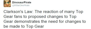 Screenshot from Twitter. Text reads: Clarkson's Law: The reaction of many Top Gear fans to Top Gear demonstrates the need for changes to be made to Top Gear